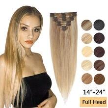 MRSHAIR – Extensions de cheveux humains Remy, lisses avec clips, faites à la machine, en 14, 18 et 22 pouces, avec reflets blonds, 8 pièces, tête complète