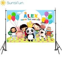 Sunsfun Little Baby Bum Theme Backdropsเด็ก1stวันเกิดที่กำหนดเองชื่อและอายุการถ่ายภาพPhotoboothวันเกิดParty
