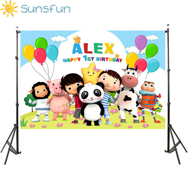Sunsfun Little Baby Bum Theme Backdrops Newborn Baby 1st Birthday Custom Name and Age Photography Photobooth Birthday Party