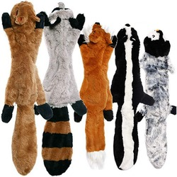 Cute Plush Toys Squeak Pet Wolf Rabbit Animal Plush Toy Dog Chew Squeaky Whistling Involved Squirrel Dog Toys