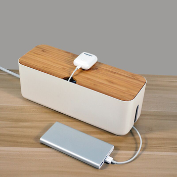 Wooden Cable Management Box Cord Organizer Box Hides Power Strip Surge Protector Cover Children Safe Cord Box For Home Office orico pb3218 cable cord organizer box for surge protection