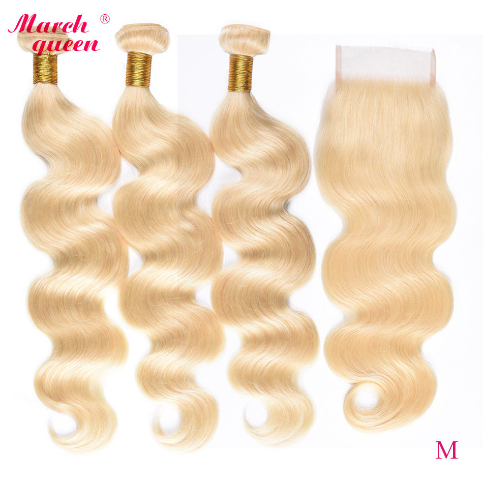 Marchqueen Honey Blonde 613 Bundles With Closure Medium Ratio Malaysian Body Wave Remy Human Hair Weave image