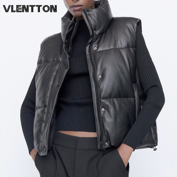 New Autumn Winter Women Black Sleeveless Faux Leather Jacket Casual Zipper Solid Coat Female Warm Cotton Outwear Tops Ladie 1