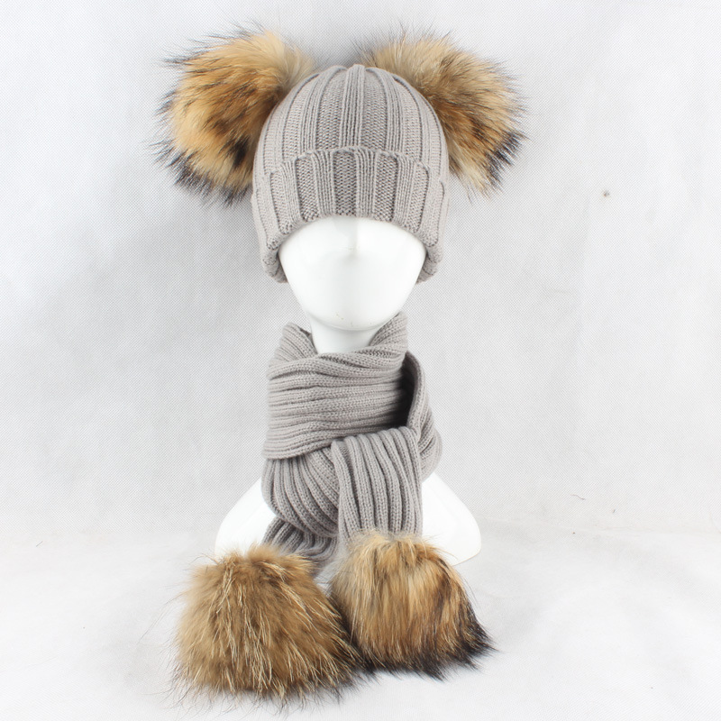 Hat-Set Raccoon-Fur-Ball Autumn Scarf Beanies Pompom-Hat Knitting Skullies Wool Warm