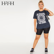 купить HYH Haoyihui Summer Fashion Round Neck Sports And Leisure Short Sleeve Color Letter Geometric Print Large Size T-shirt дешево