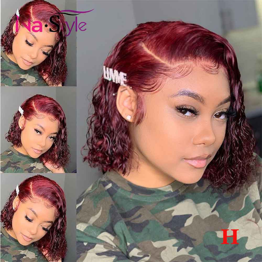 Transparent Lace Wigs 99j Burgundy Lace Front Wig Curly Human Hair Wig Red Colored Bob Wig 13x6 Lace Front Human Hair Wigs 150%