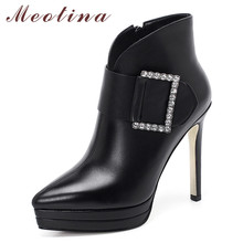 Meotina Fall Ankle Boots Women Natural Genuine Leather Buckle Platform Thin High Heel Short Boots Crystal Zip Shoes Lady Winter lin king sexy high heeled women ankle boots solid nubuck leather platform thin heel martin boots office lady zip winter shoes