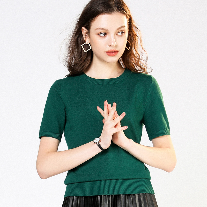 2019 Round Neck Short-sleeved Knit Spring And Summer New Loose Shirt Women's Suit Large Size Bottoming Shirt Low Collar