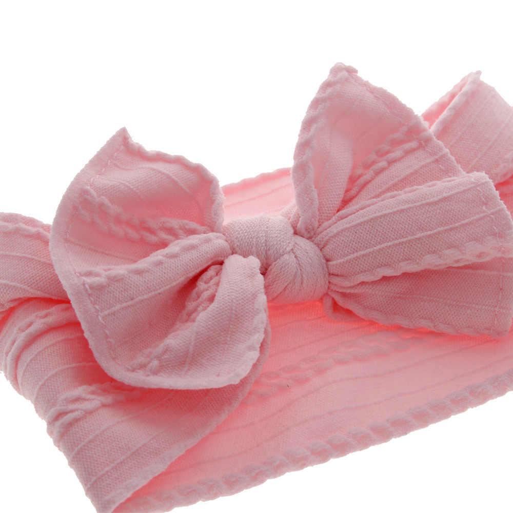 Baby Grote Boog Zachte Nylon Hoofdbanden Bloem Print Nylon Tulband Haarband Oversize Bunny Boog Headwrap Baby Meisje Hoofd Wrap Accessoires