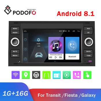 Podofo 2 DIN Android Car Radio GPS Multimedia Player 2 din Car autoradio For ford Focus/Transit/Galaxy/Mondeo/C-Max/Kuga Stereo image