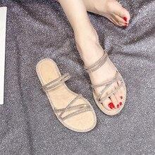 Zapatos anchos con diamantes de imitación brillantes para mujer, zapatillas con suela de goma para chica