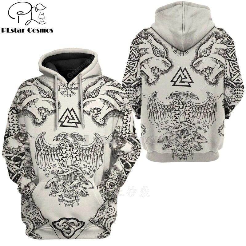 PLstar Cosmos Viking Warrior Tattoo Pullover Tracksuit casual 3D Print Zipper/Hoodie/Sweatshirt/Jacket/Men's Women style-68
