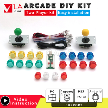 diy kit 2 player zero delay usb encoder to PC Rasberry PI joystick usb copy sanwa button arcade console retro arcade machine one player arcade game diy parts kit usb encoder pc joystick retro game diy kit for raspberry pi 3 retropie