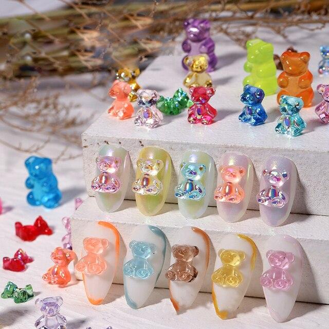 Mixed Size  Aurora Little Bear Nail Art Accessories Resin Kawaii Bear Stereo 3D Fashion Fingernail DIY Decoration 5