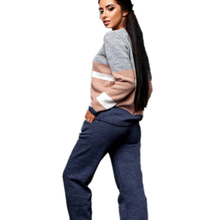 MVGIRLRU stylish sweater womens Knitted tracksuit set multicolor striped pullovers & pant 2 piece sets womens tracksuit