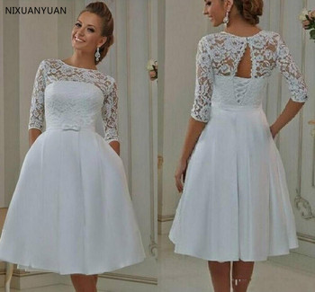 Short Cheap Wedding Gowns with Half Sleeves A Line Lace Corset Back Bridal Gowns Informal Wedding Bride Dress