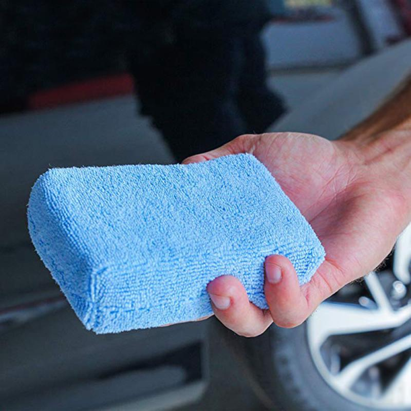 Car Cleaning Sponge Block Soft Microfiber Car Wax Applicator Pad Polishing Sponge Terry Cloth Box Polished Cleaning Block