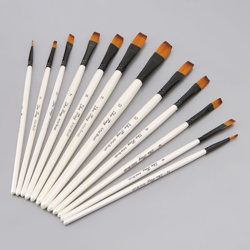 12Pcs Artist Paint Brush Set Nylon Bristles Watercolor Acrylic Oil Painting Slant Flat Round Pointed Pen Tip Wood Handle Art Acc
