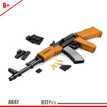 617Pcs War military toy gun model boy 7 puzzle block gun compatible with Lepining assembled model 9 my world 10 military rifle(China)
