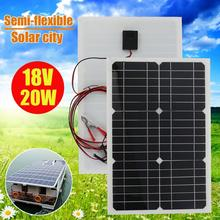 18V 20w Solar Panel Charger Semi-flexible Monocrystalline Solar Cell DIY module Outdoor connector For 12V Rv Marine Caravan leory 12v 20w semi flexible solar panel monocrystalline solar city chip with 300cm cable suitable for car rv boat ship batteries
