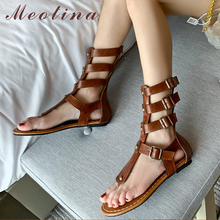 Meotina Women Gladiator Shoes Rivet Ankle Strap San