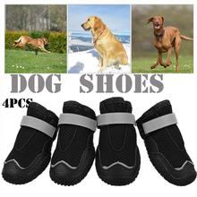4PCS Black Dog Shoes Anti-slip soft Reflective Straps Four seasons shoes Suitable for small and large dogs Breathable Net