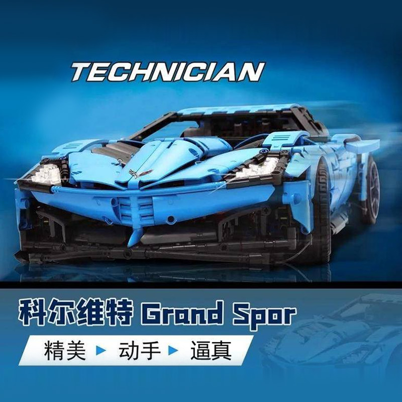 MOC New Technic Chevrolets Corvettes Grand Sport Il Toro Azzurro Fit Lepining 31189 Model Building Blocks Bricks Toys Gift