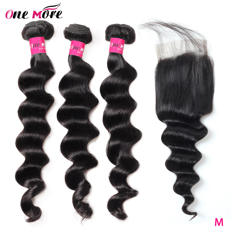 One More Brazilian Loose Deep Wave Bundles With Closure 100% Remy Human Hair Weave Bundles With Lace Closure Can Be Dyed