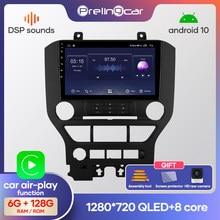 Prelingcar-reproductor Multimedia de vídeo y Radio para coche Ford Mustang, con Android 10,0, SIN DVD, 2 Din, navegación GPS, ocho núcleos, 2.5D, DSP, IPS
