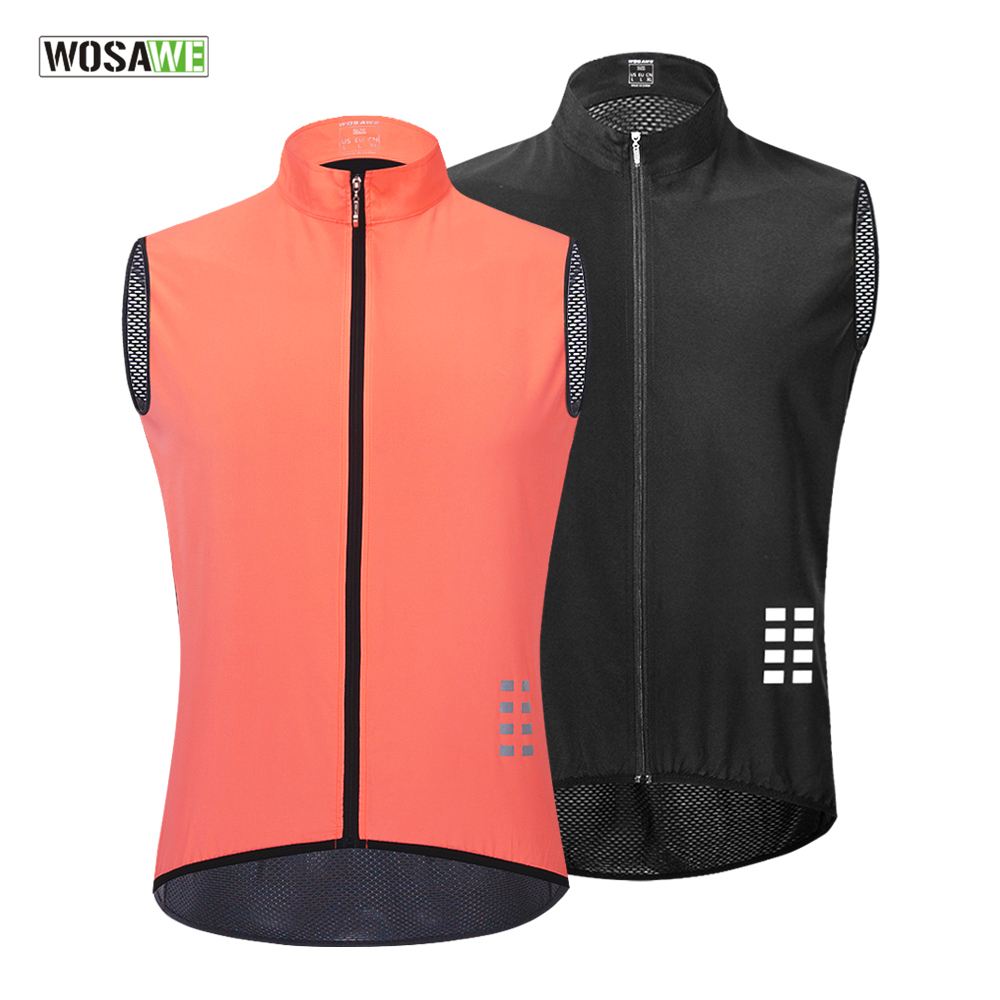 WOSAWE Breathable Cycling Vest Windproof Water repellent Running Vest MTB Bike Bicycle Reflective Sleeveless Cycling Jersey-in Cycling Vest from Sports & Entertainment