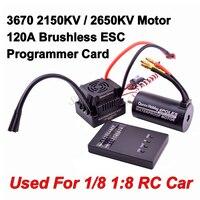 Motor sin escobillas 3670 2150KV 2650KV + 120A S-120A ESC con 5,8 V + 3A BEC + tarjeta de juego combinado para 1/8 1:8 RC modelo de camión para coche