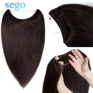 SEGO Weft Hair-Extensions Fish-Line-Hair Flip-In 100%Human-Hair Straight 60g-80g 16--24-invisible-Wire