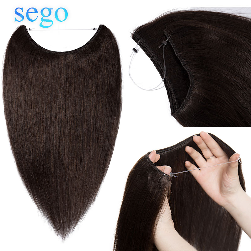 SEGO Invisible Wire Flip In Hair Extensions Straight Brazilian Non-Remy 100% Human Hair Weft 16