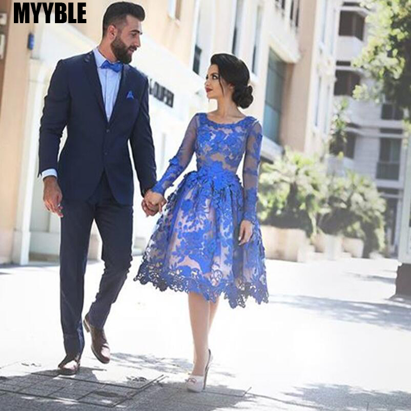 MYYBLE Royal Blue 2020 Cheap Elegant Cocktail Dresses A-line Long Sleeves Appliques Lace Elegant Short Homecoming Dresses