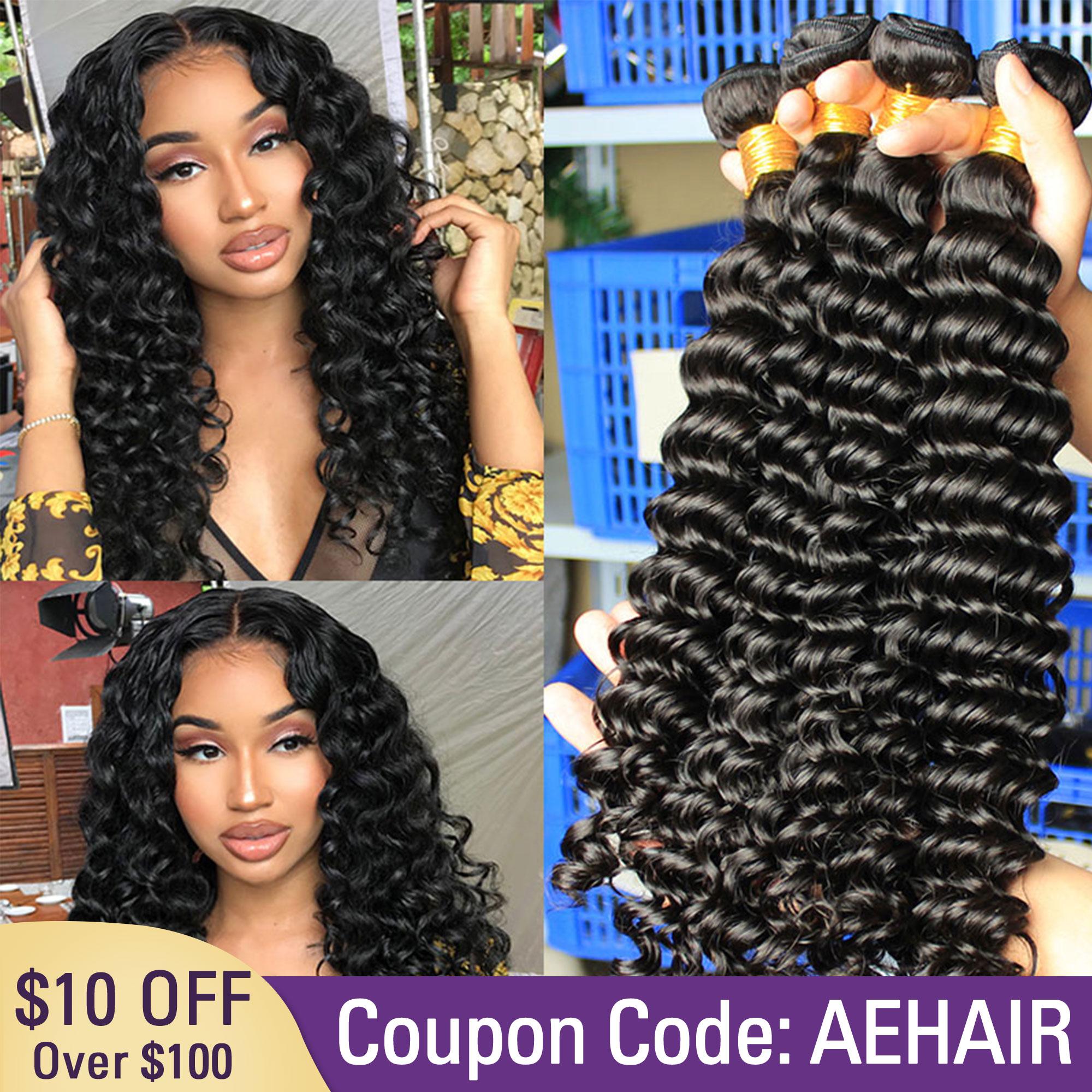 Deep Wave Human Hair Bundles With Closure Hair Extensions Brazilian Virgin Hair Weave Bundles Loose Curly Ever Beauty Product