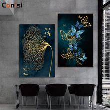 Conisi Abstract Blue Flower and Butterfly Canvas Paintings Home Decor Poster and Prints for Bedroom Decoration Unframed