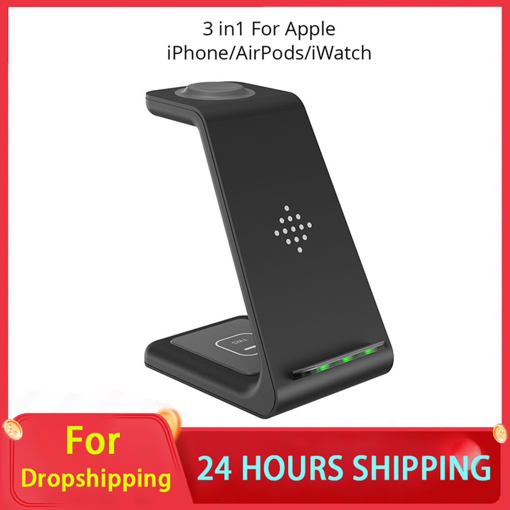 Bonola Qi 3 in1 Wreless Chager Stand for iPhone11/XR/Xs/AirPods3/iWatch5 Fast Wireles Chargeing For SamsungS20/S10/Watch/Buds
