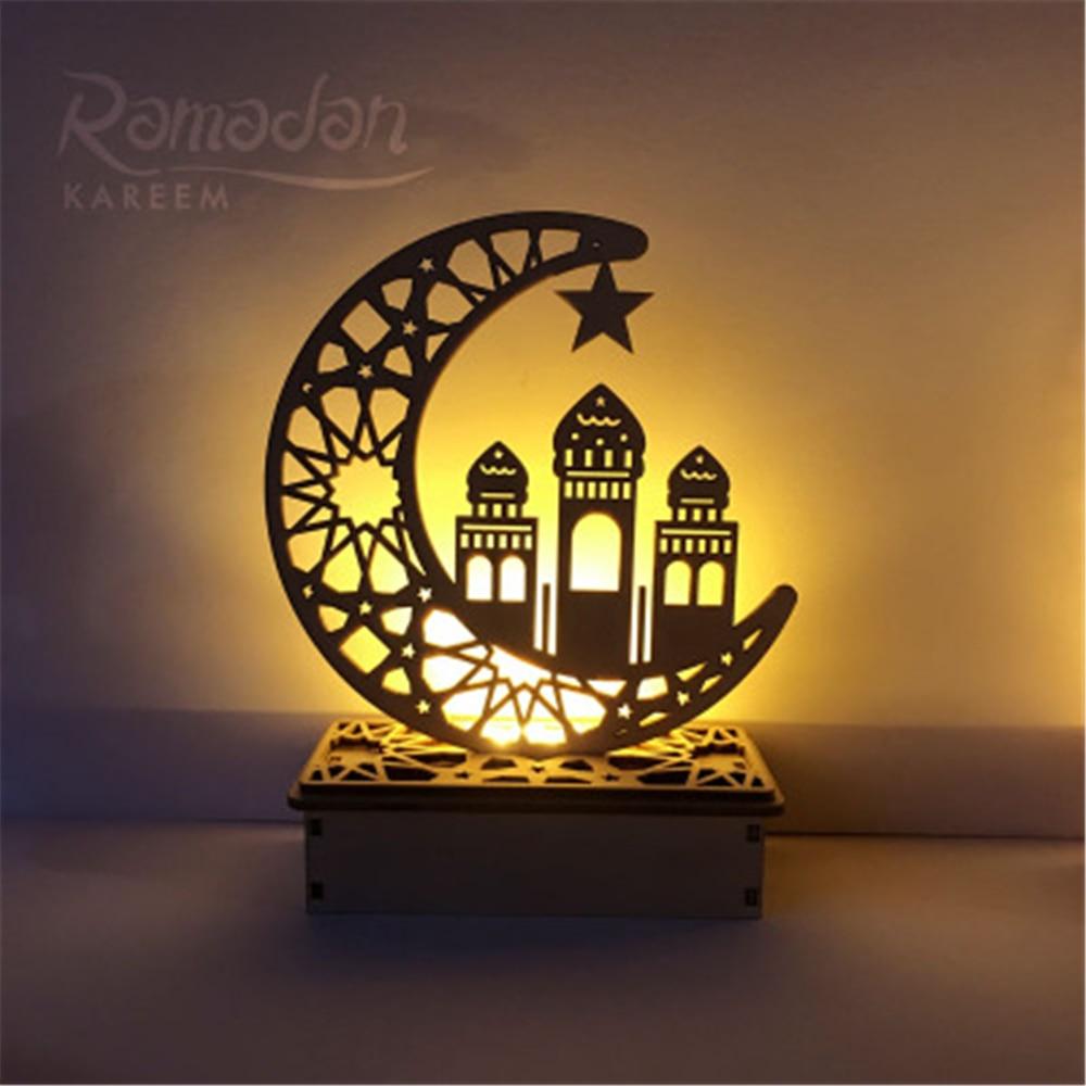 Ramadan Eid Mubarak Decorations for Home Moon Light Wooden Plaque Hanging Pendant Islam Muslim Event Party Supplies