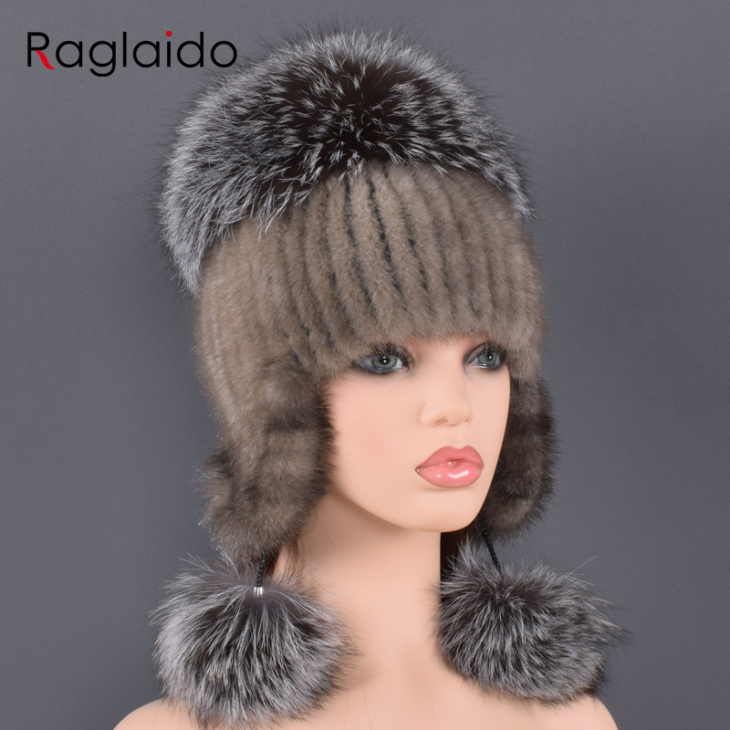 Natural Fur Hat For Women Real Mink Fur And Fox Fur Handmade Winter Female Cap Genuine Fur Lined Beanies Big Fox Fur Pompom Hats