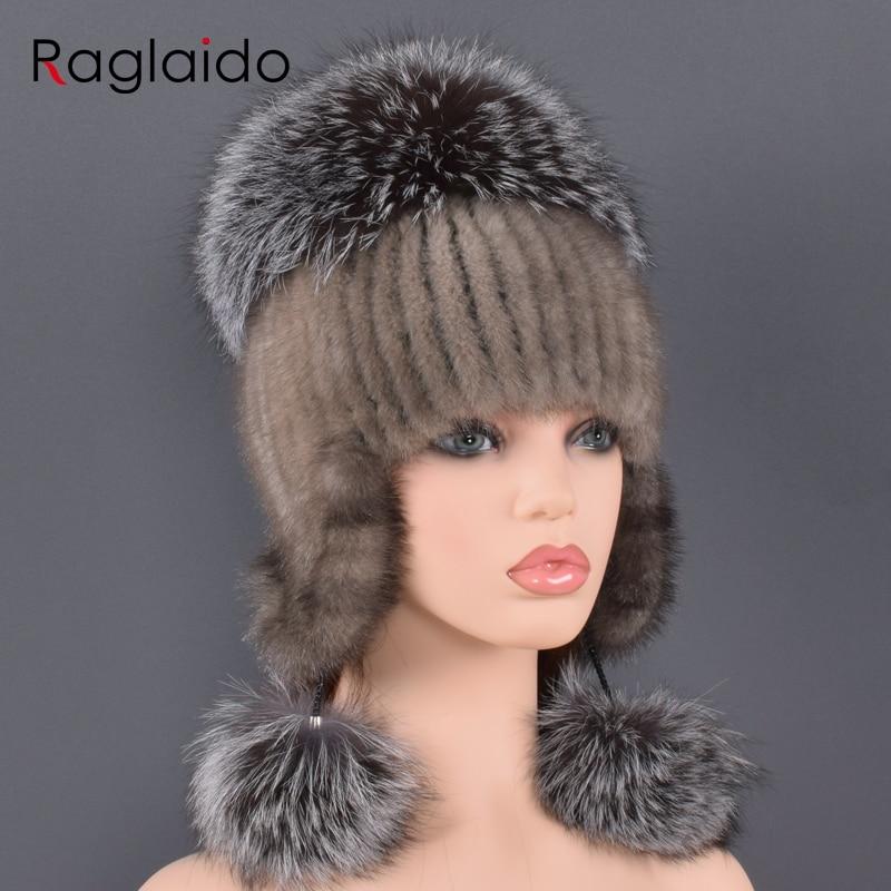 Sombrero de piel Natural para mujer Piel de visón Real y piel de zorro hecho a mano invierno mujer gorra de piel genuina forrado gorros grandes sombreros de pompón de piel de zorro