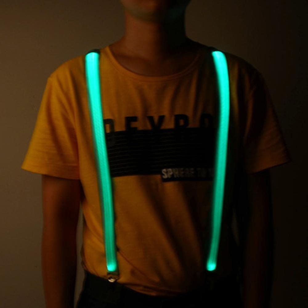 Button Battery LED LIGHT SHINE Night Suspender With 3 Snaps Jacquard Elastic Braces Glowing Illuminated Suspenders