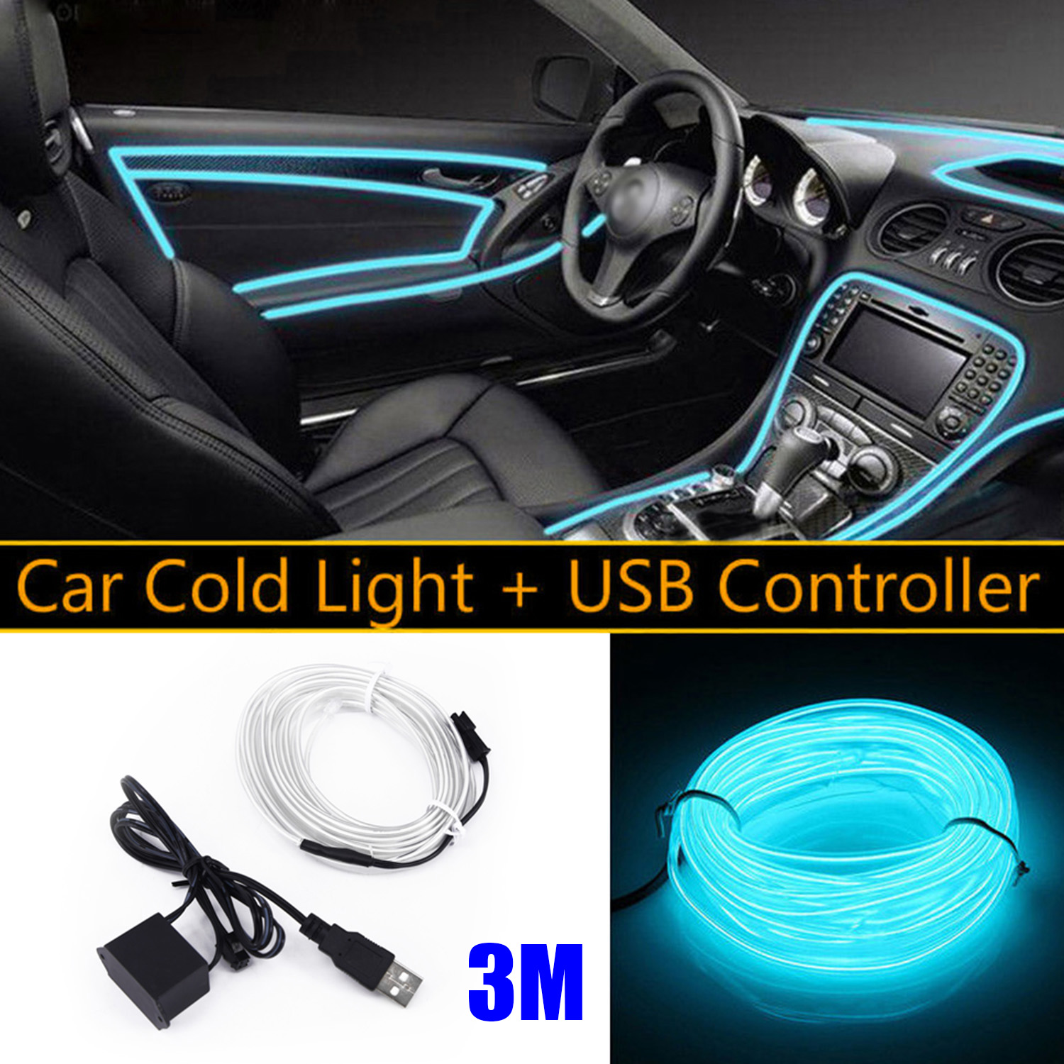 Tube EL Wire String Light Strip Strip Car Interior Parts 3 Meters Accessories Decoration Light Car & Truck Parts