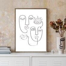 Abstrato rosto uma linha de desenho por picasso arte imprime preto branco mínimo contínuo pintura em tela nórdico cartaz quarto decoração