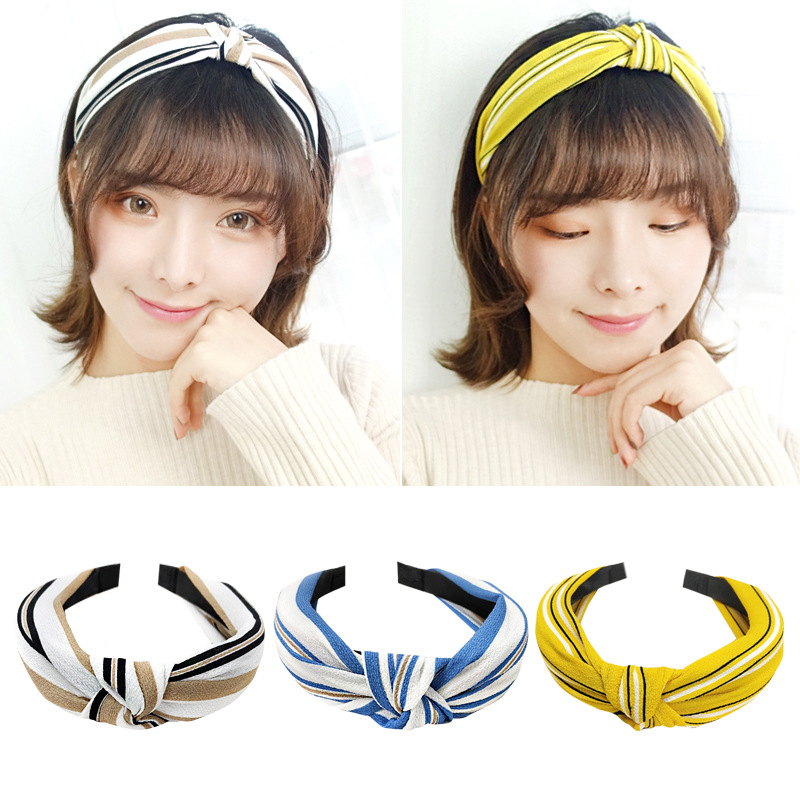 Popular Women Hair Accessories Fashion Stripes Hoops Korean Hand Knotted Fabric Wide Edge Headdress Headband