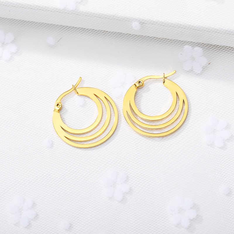 Pendientes de media luna joyería de moda de acero inoxidable oro rosa pequeños pendientes de aro para mujeres regalos de Amistad 2019 Brincos BFF