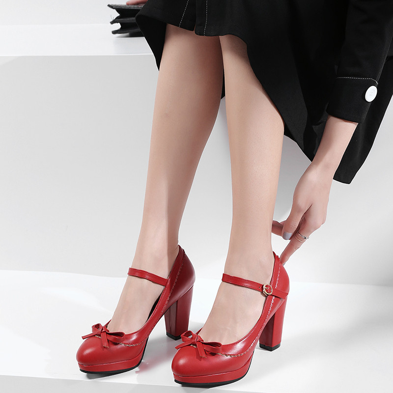 2019 New Lolita Mary Jane Party Shoes Woman High Heels Bowtie Platform Red White Black Buckle Womens Pumps Plus Size