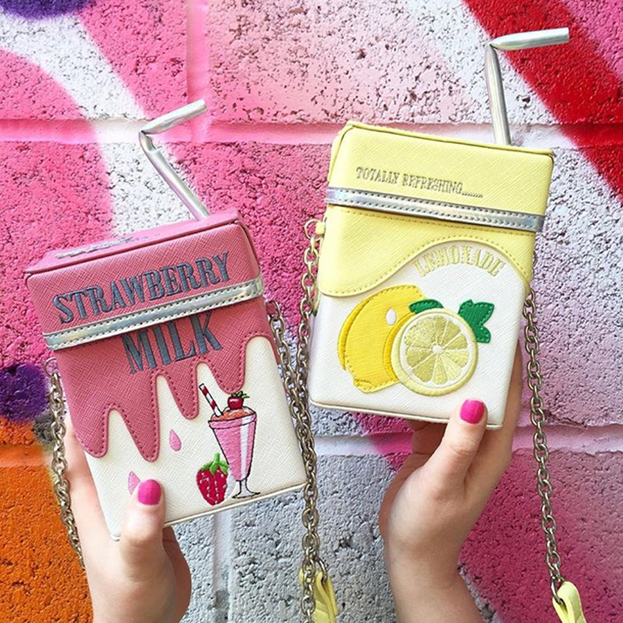 Fun Personality Strawberry Lemon Straw Milk Box Style Chains Bags Women Messenger Shoulder Bag Ladies Mini Phone Purse Bag New