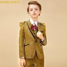 Altın çocuk erkek takım elbise Blazers parlak takım elbise düğün büyük çocuk çiçek kız İngiliz elbise Bling ceket Garcon