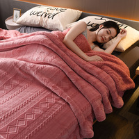 Sherpa 3D Embossed Double layer Throw Blanket Bedspread Coverlet Twin size Bedding Fleece Reversible Blanket for Bed and Couch