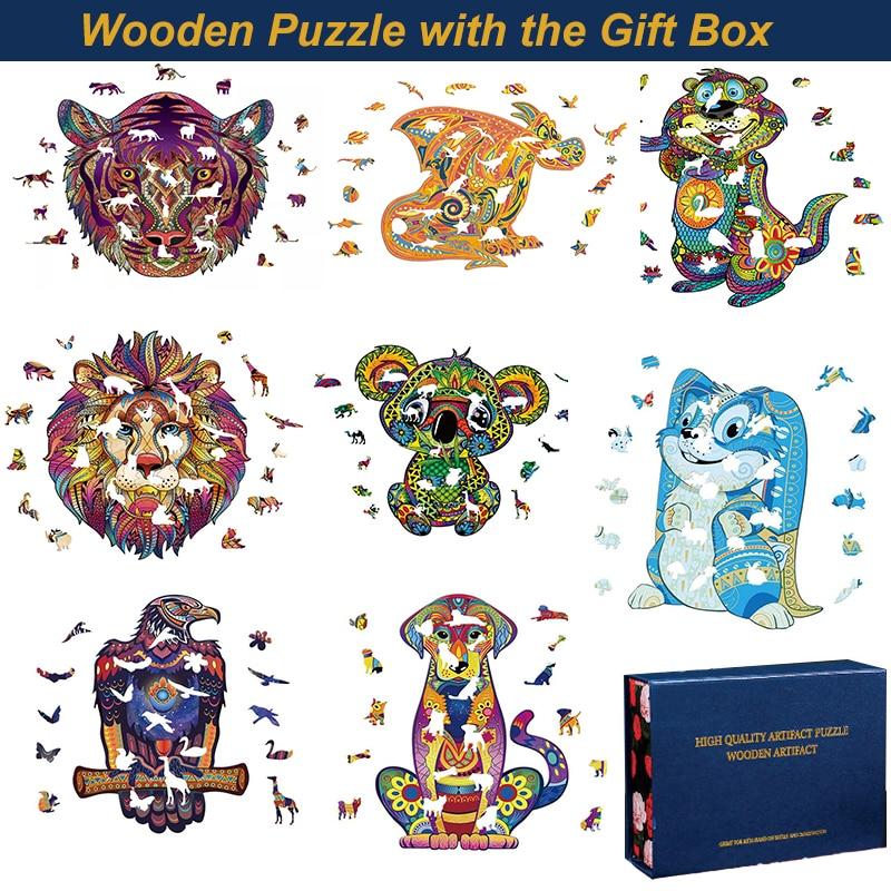 Quebra-cabeça de madeira diy com caixa de presente animais desafiador jogo quebra-cabeça cada peça é animal em forma o melhor presente de ano novo